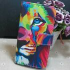 1x Colorful Lion Wallet Card Holder flip case cover for Various Mobile phone