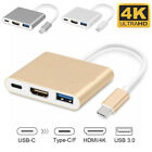 Type C to USB-C 4K HDMI USB 3.0 3-in-1 Hub Adapter Cable For Apple Macbook Pro