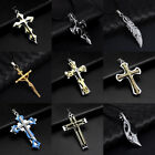 Fashion Womens Men Stainless Steel Pendant Cross Skull Necklace Chain Jewelry