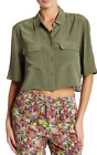 Equipment Cropped Short Sleeve Silk Blouse Army Jacket NWT $188