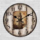 Wooden Big Ben Elizabeth Tower Wall Clock Rustic Retro Home Kitchen Bar Decor