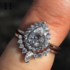 UK Womens Ladies Wedding Engagement Ring Sterling Silver Diamond Rings Size