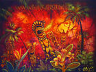 Tiki Fire Mouth Hawaiian Island Taboo C.Bjork Tropical Art Painting Print CBjork