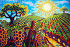Sunshine Vineyard Landscape Nature Grape Vibrant California Painting Prnt CBjork
