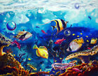 Sealife Vibrant Blue Reef Fish Aquarium Tropical Hawaiian Painting Print CBjork