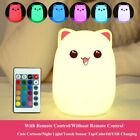 Cute Cat LED Night Light Remote Control Silicone Best Gift For Cat Lover Kids
