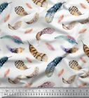 Soimoi Fabric Colorful Feather Print Fabric by Yard - FH-11C