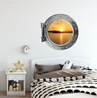 PortScape Ocean Sunset Islands Porthole 3D Window Wall Sticker Removable Mural