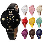 Women Watch Casual Checker Faux Leather Fashion Quartz Analog Wrist Watches Gift image