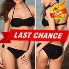 Black Twist Top O Ring Padded Bra Bikini Bottom Beach Swimsuit Swimwear Set M-L $6.99 USD on eBay