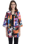 Joseph Ribkoff Black Multi Abstract Open Front 3/4 Sleeve Jacket 183542 NEW