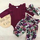 Cute Newborn Baby Romper Floral Pants +Tops Headband Newest Outfits Set Clothes