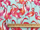 100% Heavy Cotton Fabric 230gsm - Pink Flamingo Bird Print- Craft Material Metre