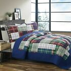 Hepler Plaid Patch Reversible 100%Cotton Quilt Set, Bedspread, Coverlet image