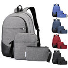 3PCS Men Women Boys Girls Backpack School Shoulder Bag Bookbags Canvas Travel image