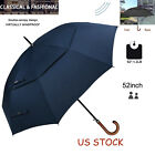 "Wooden J Handle Golf Umbrella 52"" Windproof Double Canopy Vented Auto Open Large"