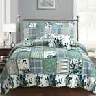 Green Floral Real Patchwork 100%Cotton Twin-Size Quilt Set, Bedspread, Coverlet image