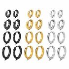 4 Pairs Women Men Stainless Steel Small Hinged Hoop Huggie Ear Earrings 7-14MM image