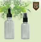Clear glass bottles with pipettes or atomisers (x6) 10ml 20ml 30ml 50ml 100ml