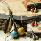 Women Retro Ceramic Sweater Chain Necklace Pendant Boho Long Ladies Ornament New image
