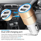2 Port Car Charger LED USB Alloy Gold 2.1A / 1M iPhone Type C & Mirco USB Cable
