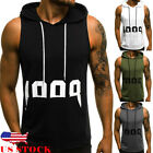 US Mens Muscle Hoodie Tank Top Bodybuilding Gym Workout Sleeveless Vest T shirt