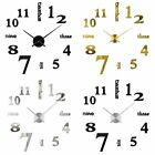 DIY Modern Large Wall Clock 3DAcrylic Mirror Sticker Big Number Watch Home Decor