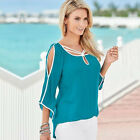 US Womens Summer Cold Shoulder Tee Top Short Sleeve Blouse Casual Loose T-Shirt