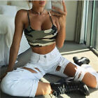 New Womens Camouflage Strappy Cami Basic Bralet Gym Sports Crop Bra Vest Top UK