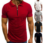 Mens V Neck T-Shirt Tops Short Sleeve Summer Slim Fit Stretch Casual Work Shirts image