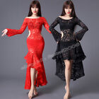 Women Lace Belly Dance Costumes Stage Performance Club Long Dress Dancewear HOT