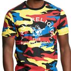 True Religion Men's Contrast Crew Camo Tee T-Shirts in Red Camouflage