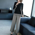 latest spring Korean fashion leisure knitting Wide-legged pants two-piece outfit