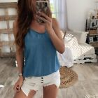 US Sexy Summer Women Blue Tank Top With Bowknot Galluses Sleeveless Blouse <br/> ❤2019 NEW STYLE ❤ Best Quality❤ US STOCK ❤Easy Return❤