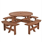 6/8 Seater Wooden Pub Seat Bench Round Picnic Table Furniture Garden Patio Cafe