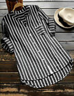 Womens Striped Casual Tops Shirt Loose Fashion Blouse Clothes Plus Size T-Shirt