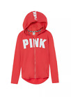 VICTORIA'S SECRET PINK FULL ZIP CORRAL ORANGE SOFT FRENCH TERRY TUNIC HOODIE