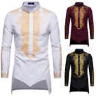 Внешний вид - Mens African Shirt Dashiki Tribal Print Long Sleeve T-Shirt Tee Tops Blouse Hot