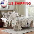 Vintage Floral Bird 100% Cotton Bedspread Quilt Throw Blanket Coverlet Queen Set image