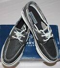 SPERRY TOP-SIDER WOMEN'S BAHAMA BLACK CANVAS BOAT SHOES