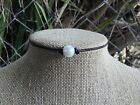Pearl Choker w/Gift Bag, Single Freshwater Pearl and Leather Choker Necklace