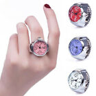 Creative Women Men Finger Rings Watch Round Dial Quartz Adjustable Decorate Gift image