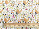 Easter Fabric - Fox & Floral Spring Print Polycotton Craft Material Metre TC0009
