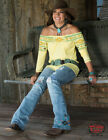 Cowgirl Tuff Women's Yellow Aztec Print Off The Shoulder Blouse 100229