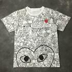 Unisex CDG PLAY Full Cartoon Pattern Cotton Crew Neck Sports Casual T-shirt S-XL