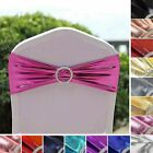 40 Metallic Spandex Chair Sashes with Silver Buckles Party Wedding Decorations