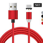 US 1M 2M 360° Rotate Round Magnetic LED Weave Micro USB Type C Charging Cable