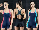 Womens Boyleg Racer Back Training Swimwear One Piece Swimsuit Activewear Bathing