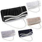 Diamante Dual Edge Frill Flap Clutch Lady Party Prom Bag Prom Hand Carry Purse