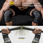 Knee Sleeves 7mm & Wrist Straps Weight Lifting Gym Sbd Bodybuilding Mix&Match